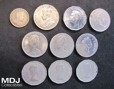 Lot of 10 Canada 5 Cents Coins - 1906 Silver, 1929, 1945, 2x 1957, 1960, 1974