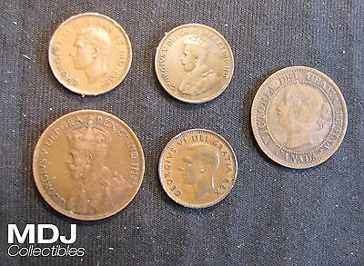 Lot of 5 Canada 1 Cent Coins Penny - 1859 Large, 1916, 1920, 1946, 1952