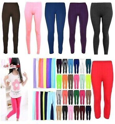 New Children Viscose Plain Stretchy Soft Leggings with Elasticated Waist