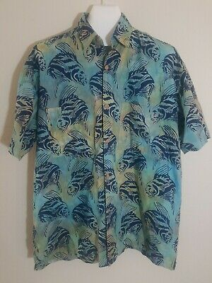 dfa199a8a RUM REGGAE Mens XL Blue Tropical Fish Fishing Hawaiian Shirt - New No Tags