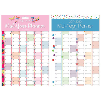 Large A1 2019 2020 Academic Mid Year Wall Planner Calendar Academic Planner