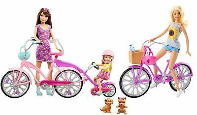 Barbie - Little Sisters In Camping, With Bicycle Set Brand New Fast Postage