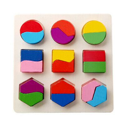"""15*15 cm Puzzle Toy Blocks Toy Jigsaw 5.9*5.9"""" Baby Wooden Geometry Educational"""