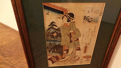 Antique Framed & Matted Japanese Woodblock Print of Asian Woman by Window VG
