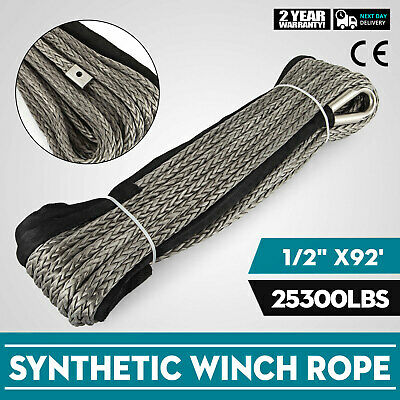 92ft*1/2 Dyneema Synthetic Rope Winch cable UHMWPE Winch Rope Heavy Loading