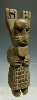 Guatemala Guatemalan Carved Wood Figural Bearded Man Slingshot ca. 20th century
