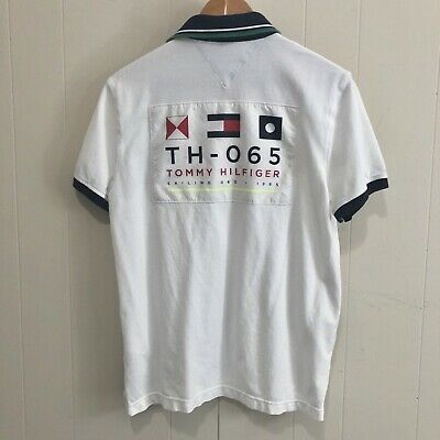 019a6d2f Tommy Hilfiger Medium Sailing Gear Spell Out Big Flag White Stretch Polo  Shirt