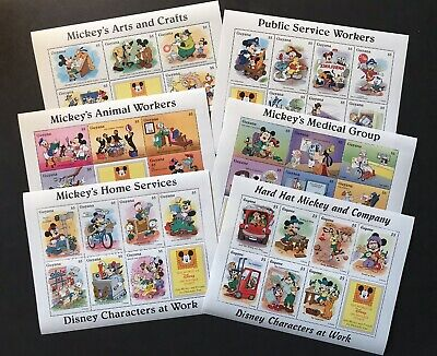 Guyana 1995 Mnh Disney Characters At Work Stamp Sheets Mickey Minnie Goofy Pluto
