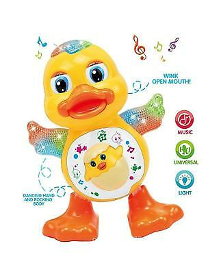 Baby Dancing Duck Toy with Real Action and Music Flashing Lights (Multicolour)