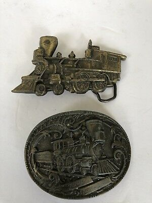 Belt Buckles brass Railroad Trains Lot of 2 Vintage