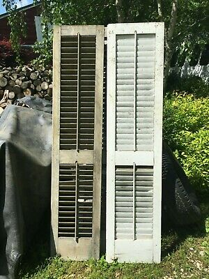 Vtg Pair 1800's Old  Wooden Window Shutters Architectural Salvage 68 X 14.5