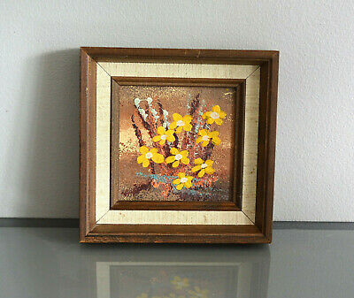 Scandinavian Impressionism Signed & Framed Oil Painting Finnish Yellow Flowers