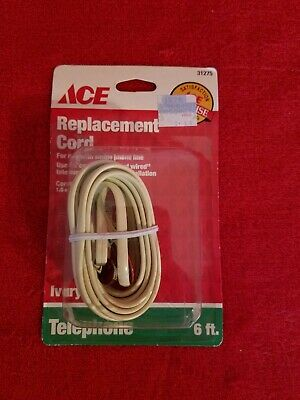 Ace 31275 Phone Replacement Cord Modular Installation 6 feet Ivory New