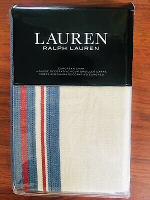 08d44b18 RALPH LAUREN KELSEY STRIPE EUROPEAN SHAM PILLOW COVER CREAM BLUE RED Free  Ship