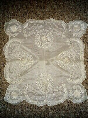 Antique hand embroidered wedding handkerchief 1920s 1910s