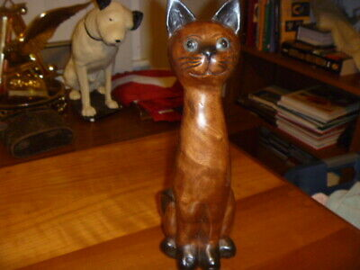 "Vintage Hand Carved Wooden Cat Statue Figure ~Adorable 12"" Tall"