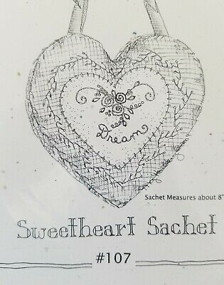"""New CRABAPPLE HILL Sweetheart Sachet Hand Embroidery Pattern 8"""" HEART #107"""