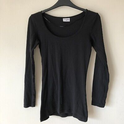 Ethel Austin Women's Size UK 10 Semi-Fitted Plain Basic Black Top Tee T Shirt