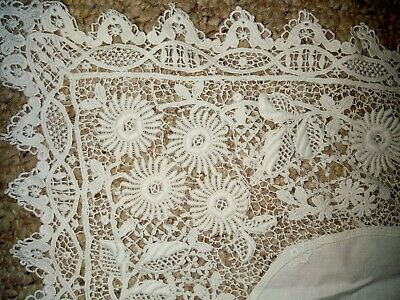 Antique Victorian white handmade lace table runner