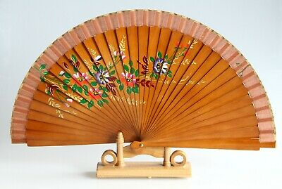 Vintage Hand-painted Oriental Hand Held Fan Floral Design With Bamboo Stand