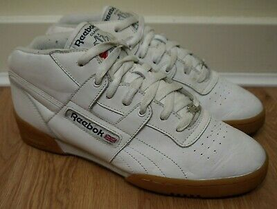 9cc8ee710af72 Reebok Classic Workout Mid White Gum Leather Trainers Size UK7 EU40.5