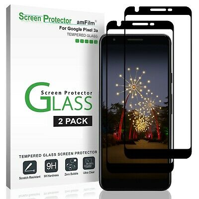 Google Pixel 3a amFilm Full Cover Tempered Glass Screen Protector Film (2 Pack)