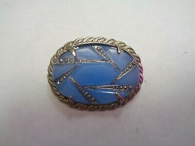 Antique ART DECO Silver Sterling ? Blue Glass Stone Prong Set Pin C clasp