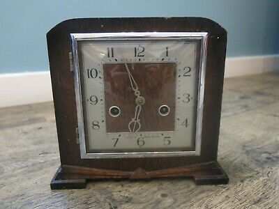 Vintage Mantle piece Clock Wooden Silver Art Deco Mechanical Spares and Repairs