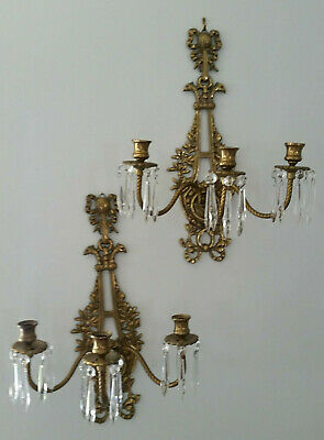 Antique Cast Brass Sconces Candle Holders Birds Bow Prisms French Dore' ? 1920's
