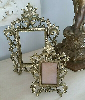 Two Vintage Cast Iron Metal Ornate Picture Photo Frames Gold Patina w/Easel