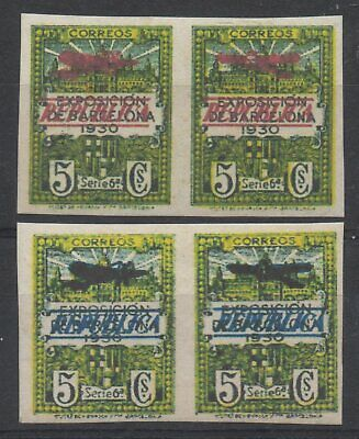 (B029) Spain 1931 Barcelone Exposition imperforation pairs (Y/T V/VI) NO GUM