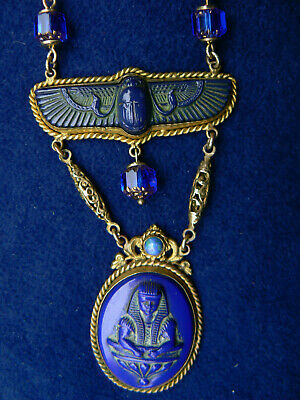 Antique Max Neiger Egyptian Revival Czech Necklace Peacock Eye Glass Stunning!