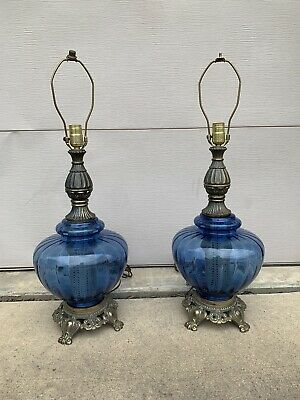 PAIR 60s Vintage Table Lamps BLUE Glass Brass Base Mid Century HOLLYWOOD REGENCY