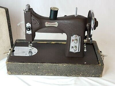 Vintage Domestic Rotary Sewing Machine 153 Dark Brown W/ Case and Foot Pedal