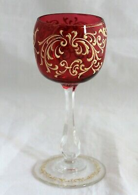 Antique French Crystal Cranberry Enameled & Gold Wine Pinched Glass Goblet