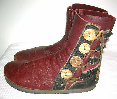Buffalo Skin Moccasin Boots Leather Antler Button Renaissance Medieval Moccasins