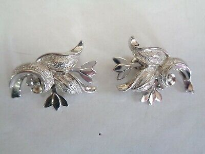 Vintage Large Layered Silver Tone TULIP FLOWER Earrings