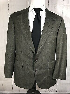 Polo University Club Men's 42R Two Button Suit Jacket Blazer Green Glen Plaid