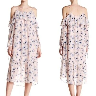 Clearance_Moon River Cold Shoulder Floral Print Ruffled Dress_Pink_Sz S_NWT