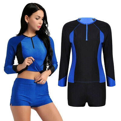 Women Swimsuit Long Sleeve Top&Pants Outfit Swimwear RashGuard Surfing Beachwear