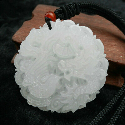 Natural Hand-carved Chinese Jade Pendant - Dragon Phoenix Good Lucky Amulet Gift