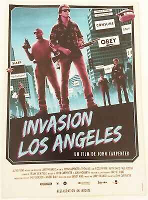 "Flyer Invasion Los Angeles ""They Live"" John Carpenter, ressortie 4K au cinéma"