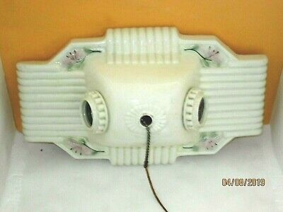 Antique Vintage Ceramic Porcelain 2 Socket Art Deco Ceiling Light Fixture, Works