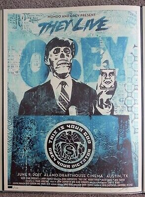Obey They Live print blue edition by Shepard Fairey signed and numbered