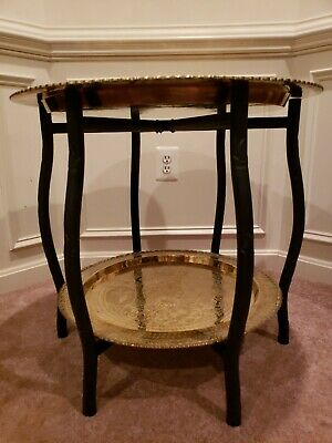 Sensational Vintage Hong Kong Brass Scalloped Black Spider Legs Folding Caraccident5 Cool Chair Designs And Ideas Caraccident5Info