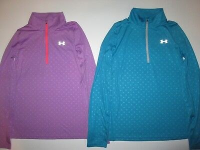 a7880ee03 Under Armour HeatGear 1/4 Zip Pullover Shirts Girl's YLG Purple / Blue Lot  of