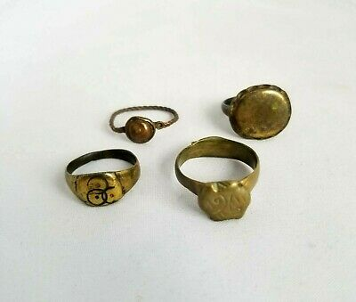 Lot of 4 Ancient Rome Bronze Signet Rings Artifacts