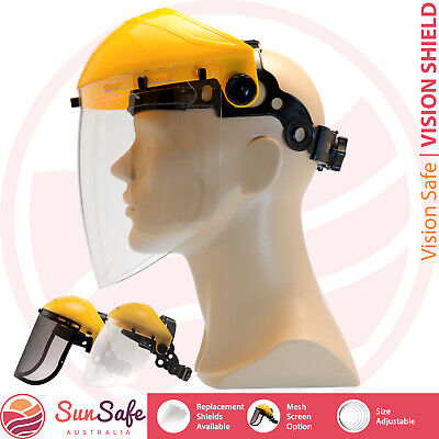 Face Shield Safety Mask Clear Anti Fog Mesh High Impact Adjustable Replaceable