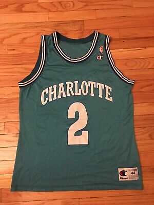 b58b980e9 Larry Johnson Charlotte Hornets NBA Vintage Champion Jersey Men s Size 44