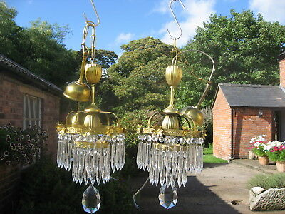 Pair Of Rare Antique Crystal & Brass Waterfall Chandeliers Stunning Shape /4093
